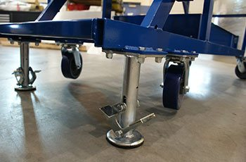 SpaceX service platform's casters and foot operated locking/lift pads