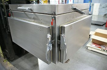 Custom heatbox with opening lid, locking clasps complete metal manufacturing project by GHI