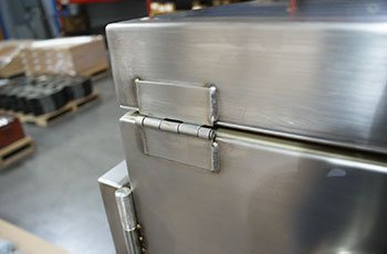 TIG welded hinge on a cutom hot box built from SolidWorks